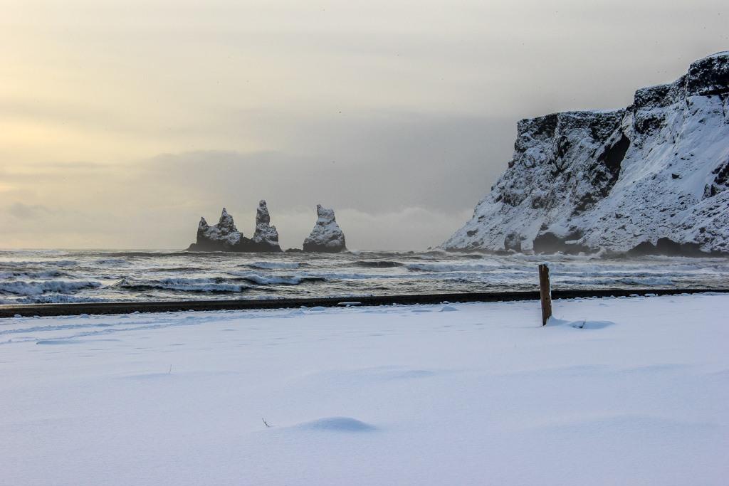 Snow covered beach, Vik, Iceland