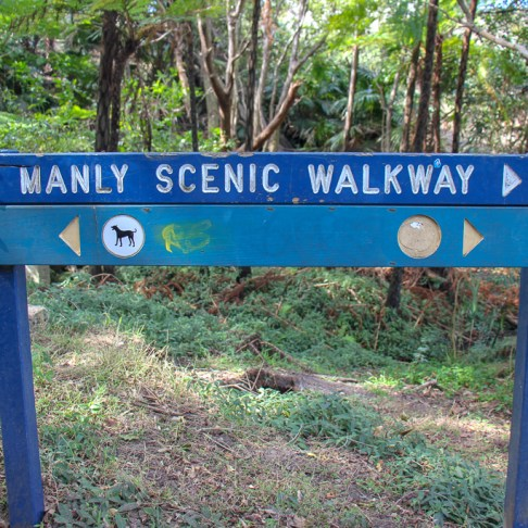 Manly Scenic Walkway sign on trail from Manly to Spit Bridge in Sydney, Australia