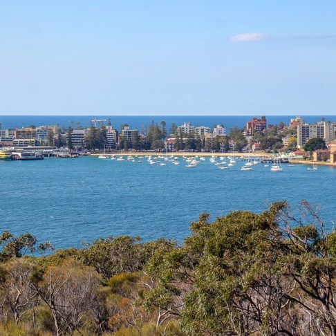 View of Manly across the water in Sydney, Australia
