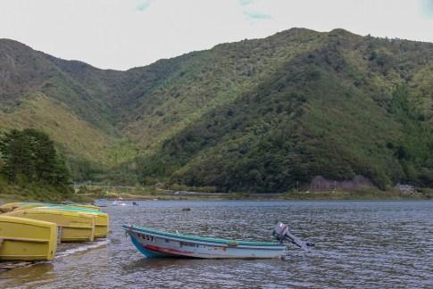 Boats on Lake Shojiko near Kawaguchiko, Japan
