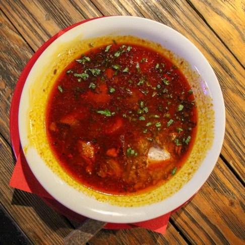 Bowl of Bograch stew at Pravda Beer Theater in Lviv, Ukraine