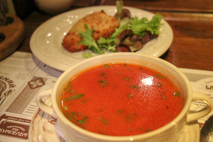 Bowl of streaming borscht soup at Kumpel Brewery in Lviv, Ukraine