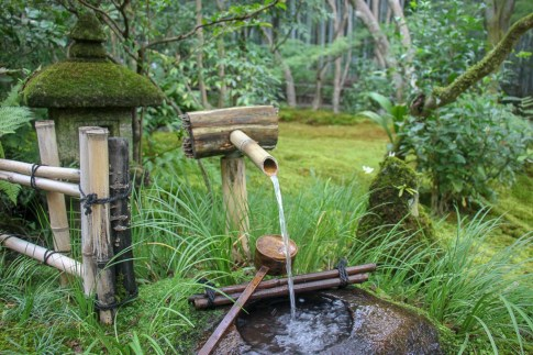 Streaming water and Chozuya at Gioji Temple in Kyoto, Japan