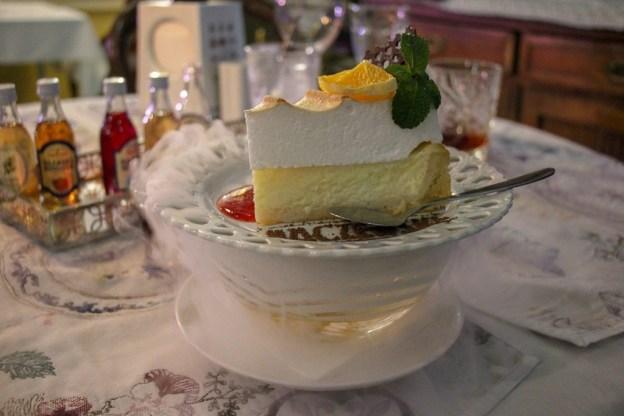 Dessert served in a mist of dry ice at Baczewski Restaurant in Lviv, Ukraine