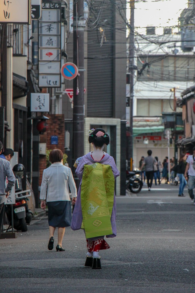 Geisha in the street in Gion District in Kyoto, Japan
