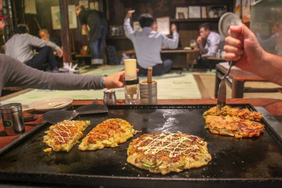 Grill-Your-Own Okonomiyaki at Sometaro restaurant in Tokyo, Japan