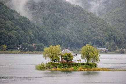 Temple on lake island in Kawaguchiko, Japan