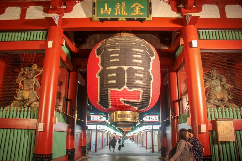 Giant red lantern at Sensoji Temple Thunder Gate in Tokyo, Japan