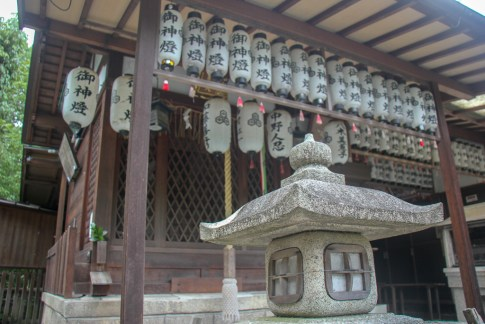 Lanterns hang from temple in Kyoto, Japan
