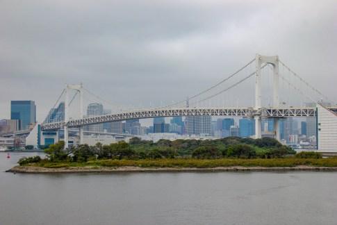 Rainbow Bridge over Tokyo Bay in Tokyo, Japan