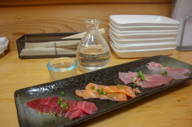 Sashimi and Sake at Izakaya High Spirits in Kawaguchiko, Japan