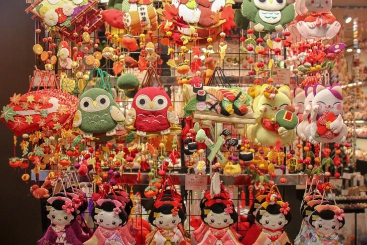 Stuffed animals for sale at Nishiki Market in Kyoto, Japan