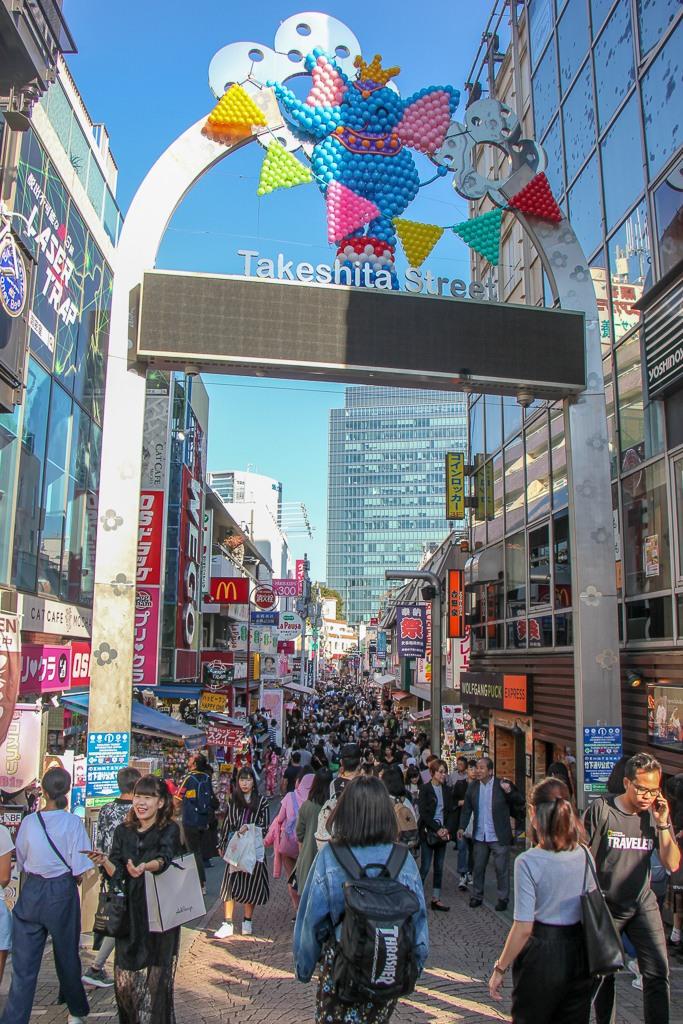 Takeshita dori pedestrian shopping street in Tokyo, Japan
