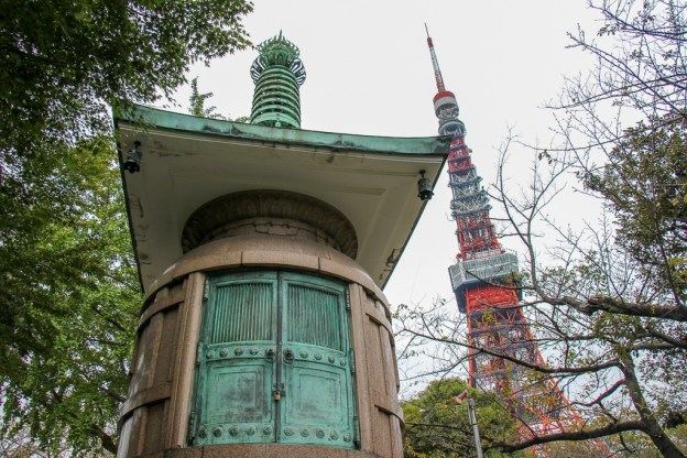 Zojoji Temple and Tokyo Tower in Tokyo, Japan