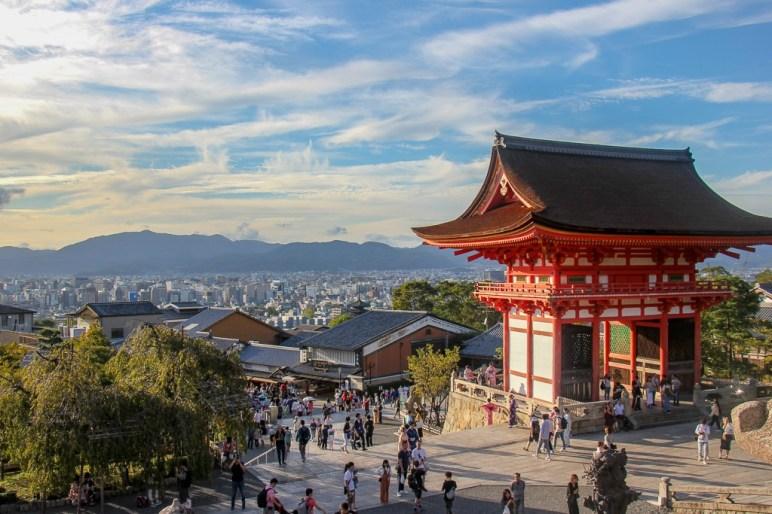 City view from platform at kiyomizu-dera Temple in in Kyoto, Japan