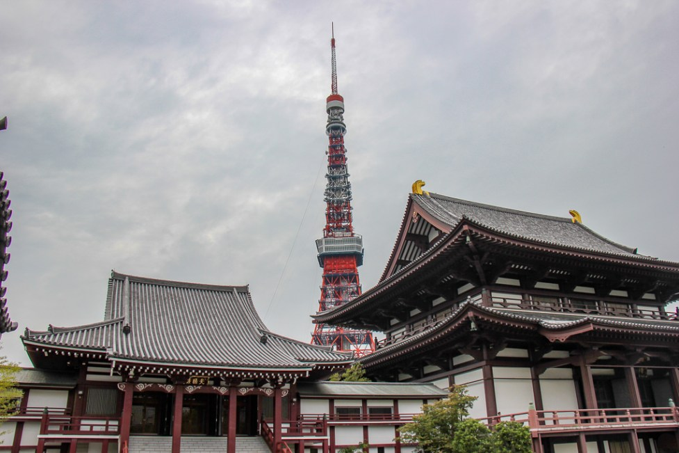 Historic Zojoji Temple and iconic Tokyo Tower in Tokyo, Japan