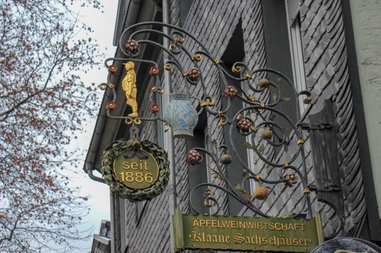Apple wine tavern in Old Sachsenhausen district in Frankfurt, Germany