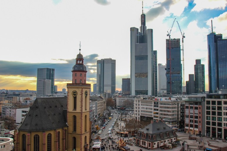 Skyline views from Galeria Kaufhof Mall in Frankfurt, Germany