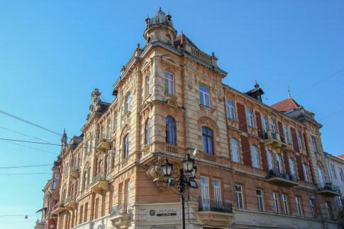 Historic architecture in Old Town in Lviv, Ukraine