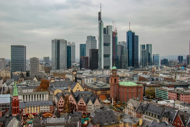 City Skyline Views from Cathedral bell tower in Frankfurt, Germany