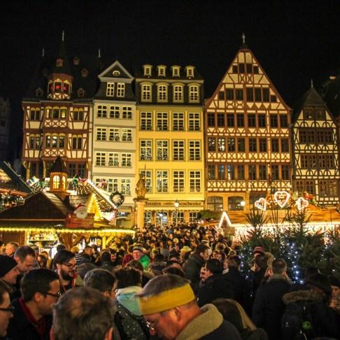Frankfurt Christmas Market in Romerberg Main Square in Frankfurt, Germany