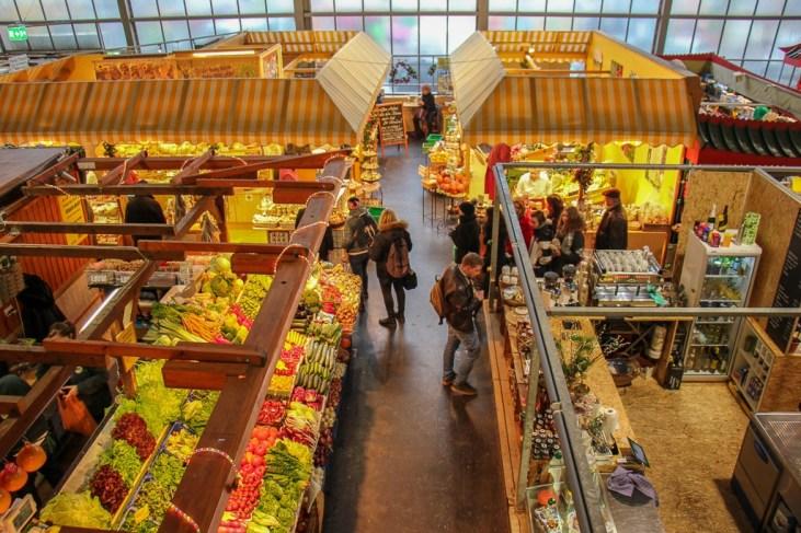 Looking over Kleinmarkthalle vendor stalls in Frankfurt, Germany