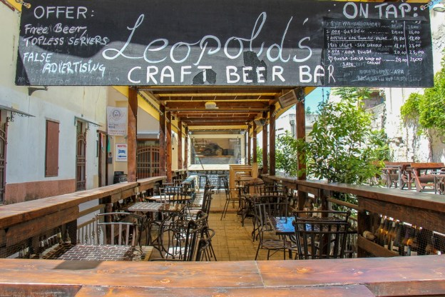 Outdoor patio space at Leopold's Craft Beer Bar in Split, Croatia