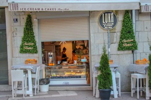 Luka Ice Cream and Cakes shop in Split, Croatia