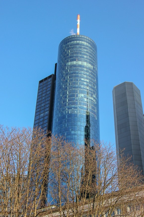 Cylindrical glass Main Tower with top floor viewing platform in Frankfurt, Germany