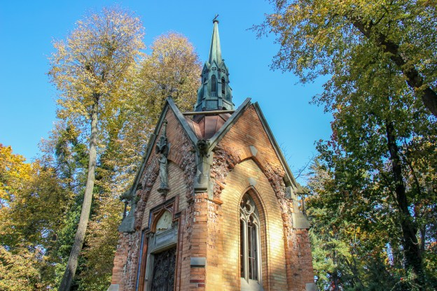 Small chapel at Lychakiv Cemetery in Lviv, Ukraine