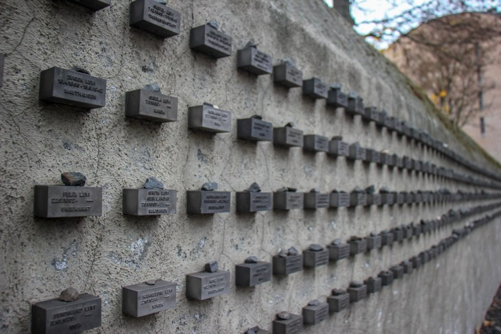Memorial name plaques on wall of Old Jewish Cemetery in Frankfurt, Germany