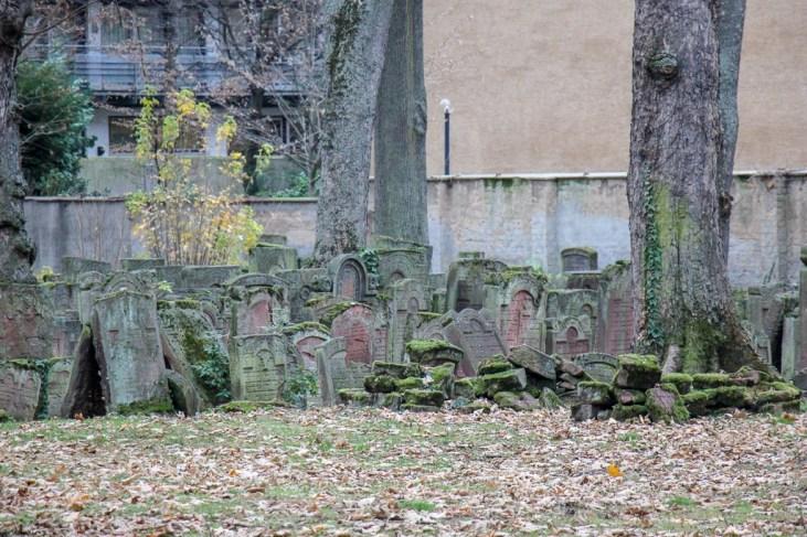 Gravestones in the Old Jewish Cemetery in Frankfurt, Germany