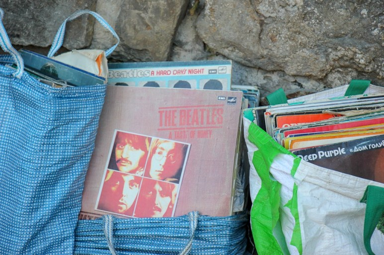 Vinyl records for sale at the Book Market on Muzeina Square in Lviv, Ukraine