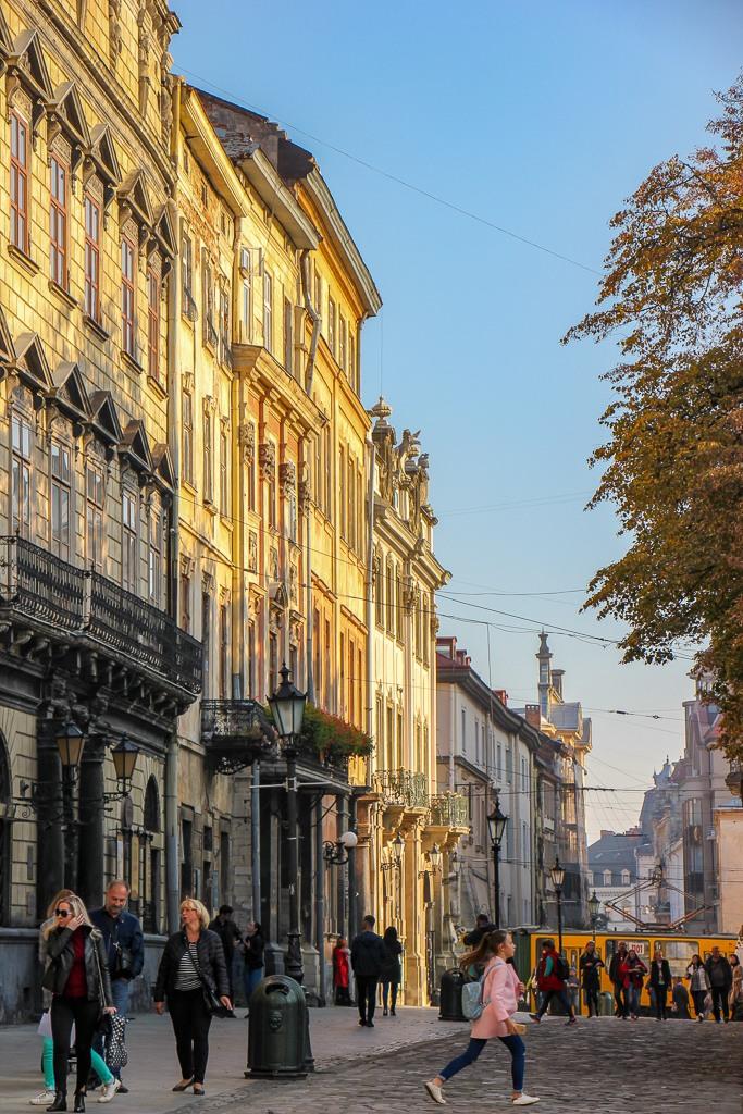 Historic buildings line the street on Rynok Square in Lviv, Ukraine
