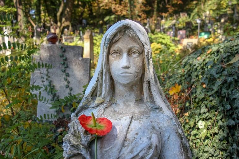 Sculpture at Lychakiv Cemetery in Lviv, Ukraine
