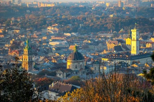 City views from the High Castle Park viewing platform in Lviv, Ukraine