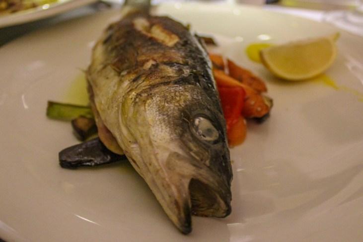 Fresh grilled fish and in-season vegetables at Apetit in Split, Croatia