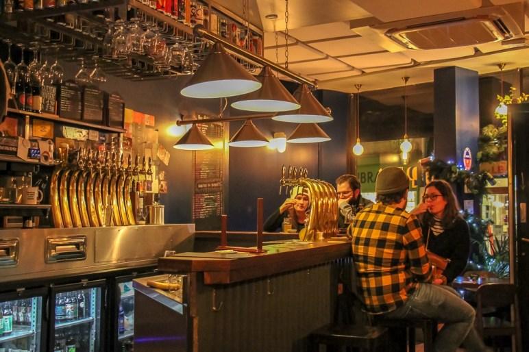 Bar and taps at Hoppy Corner Craft Beer Bar in Paris, France
