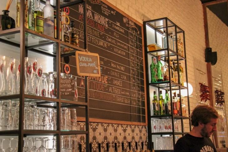 Beer list at L'Intrepide Bar in Paris, France