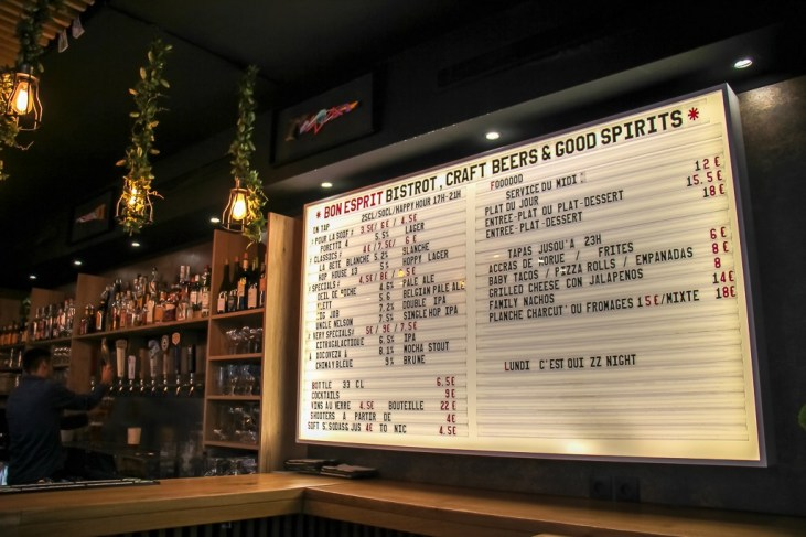 Beer list and menu at Bon Esprit Craft Beers and Good Spirits in Paris, France
