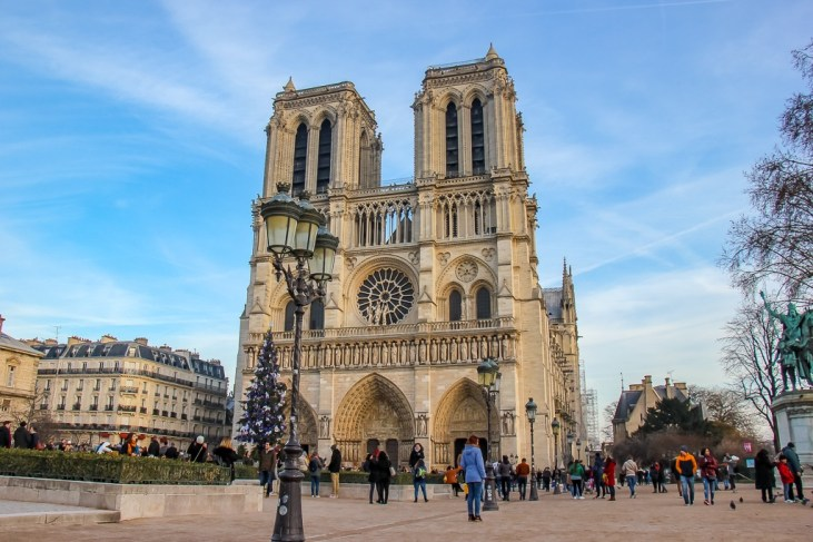 Imposing facade of Notre Dame Cathedral in Paris, France