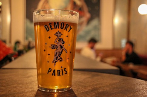 Pint of Demory Paris Brewery Craft Beer at L'Intrepide Bar in Paris, France