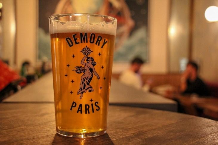 Pint of Demory Paris Brewery Craft Beer at L'Intrepide Bar in Paris, France
