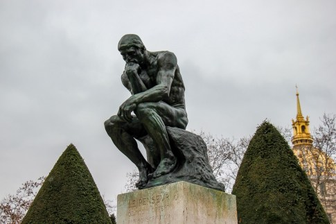 The Thinker statue by Rodin at the Rodin Museum in Paris, France