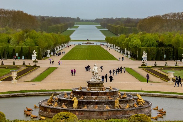 Fountain and Gardens at Palace of Versailles near Paris, France