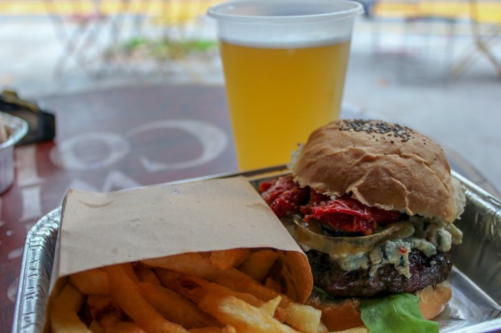 Burger, fries and beer at Burger Joint in Palermo SoHo in Buenos Aires, Argentina