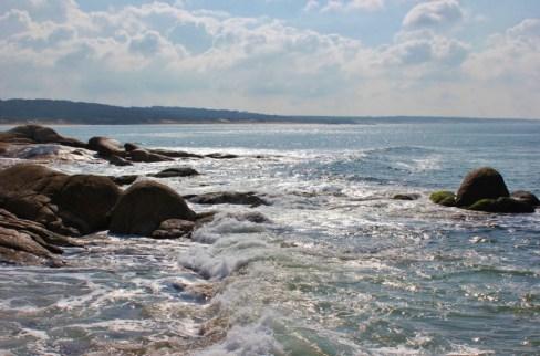 Rocky shoreline on beaches in Punta del Diablo, Uruguay