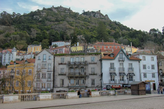 View of Sintra Old Town and Moorish Castle from steps of the National Palace of Sintra in Sintra, Portugal