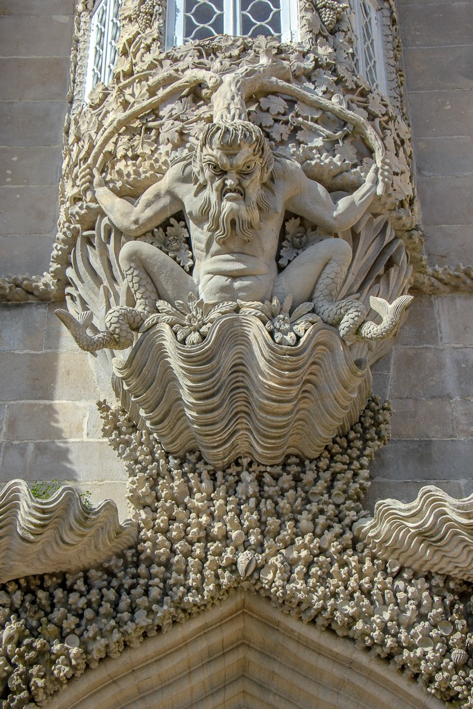Triton Stone Carving at Palace of Pena in Sintra, Portugal