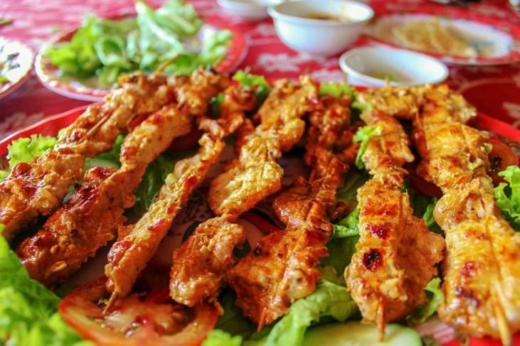 Chicken satay sticks at Song Thu Restaurant in Hoi An, Vietnam